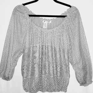 Max Studio Peasant Blouse Size L Gray